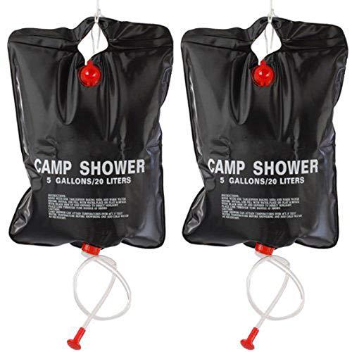 ACAMPTAR 2 x 20L Camping Duschtasche - Tragbare Solar Beheizung 5-Gallonen - 20 Liter Reise Duschetasche Solar-Campingdusche Schwarz - Solar Campingdusche Solar-Garten- und Camping-Dusche - Schwarz