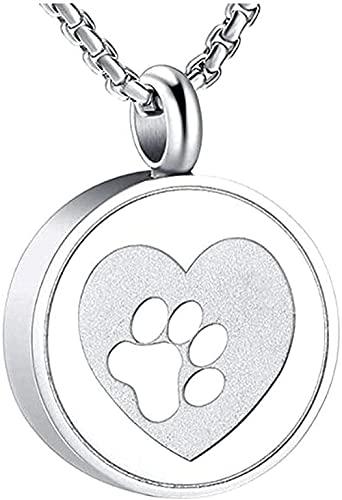 WYDSFWL Collar Hombre Collar Mujer Colgante Corazón de Pet Estampado Mascota Estampado Crema Cemblier Hep Buenas Castas de Perro/Gato Came Collar Niños Niña Regalo