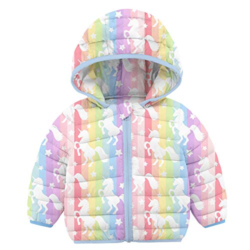 RAISEVERN Cappotto per Bambina da 2-3 Anni Giacca Invernale per Bambini con Design con Cappuccio per Regali Appena Nati, Cavallo Unicorno