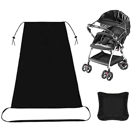 Sombrilla para cochecito de bebé y cochecito de bebé de ajuste, parasol para cochecitos / capazos / silla de paseo, con protección UV 50 y función de deslizamiento hacia arriba y hacia abajo (negro)