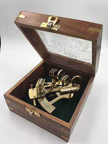 Vimal Nautical Dorado y rojo latón náutico 5 pulgadas aproximadamente sextante con hermosa caja de madera de diseño