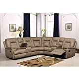 Betsy Furniture Large Microfiber Reclining Sectional Living Room Sofa in Latte 8038