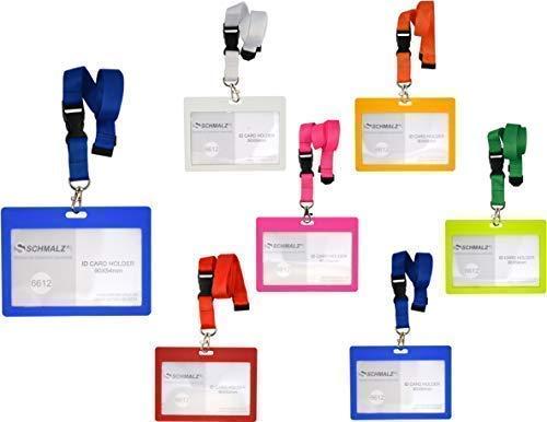Titolare della Carta Tulla con Cinturino Portachiavi 20mm Cordino Fodero-Cartellino Porta-Badge Targa Nome Portabadge Formato Orizzontale Ufficio Scuola - Arancione