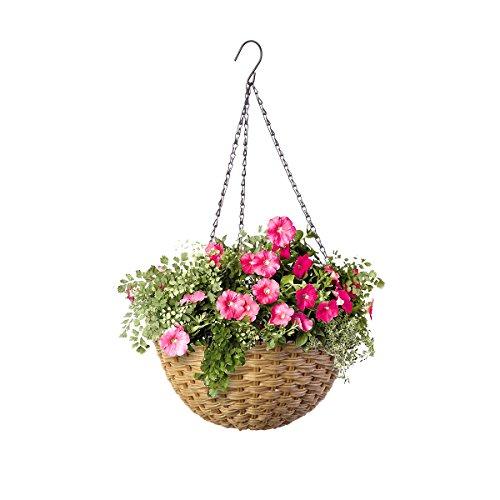 14' Resin Woven Hanging Basket, Natural Wicker