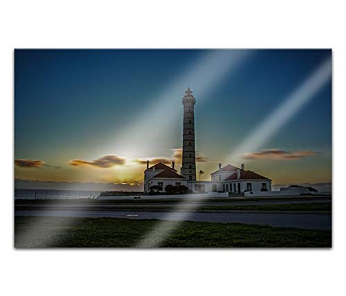 Acrylglasbilder 80x50cm Leuchtturm Sonnenuntergang Meer Acryl Bilder Acrylbild Acrylglas Wand Bild 14H458