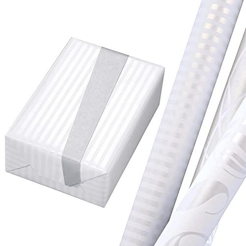 Geschenkpapier Hochzeit Set 3 Rollen (75 x 150 cm), weiße Geschenkpapiere veredelt mit Rückseite, Perlglanz und Premiumdruck. Für Kinder, Geburtstag, Frühling, Sommer, Weihnachten.