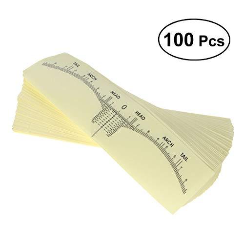 Lurrose 100 unids regla de ceja desechables ceja exacta regla de maquillaje ceja adhesiva Microblading regla guía ceja herramientas de modelado para niñas mujeres