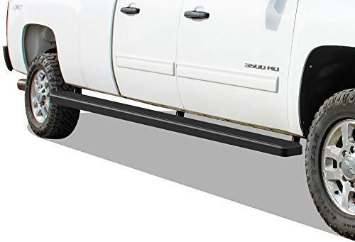 APS Wheel to Wheel Running Boards 5in Compatible with Chevy Silverado GMC Sierra 1500 2001-2013 Crew Cab 6.5ft Bed & 2500 3500 2001-2014 (Nerf Bars Side Steps Side Bars)