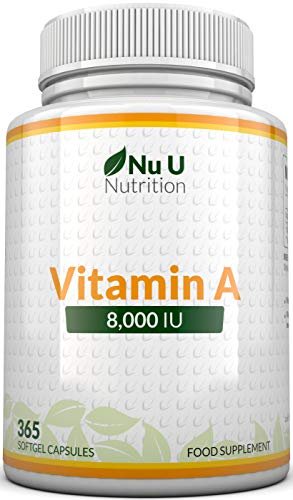 Vitamin A 8000 IU - High Strength Vitamin A Supplement, 365 Softgel Capsules 1 Year Supply for The Maintenance of Normal Skin, Vision and Immune System Function, Easy to Swallow - by Nu U Nutrition