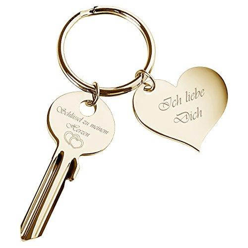 """Schlüssel zu Meinem Herzen mit Herz-Anhänger in Gold """"Ich Liebe l Geschenke zum Jahrestag"""