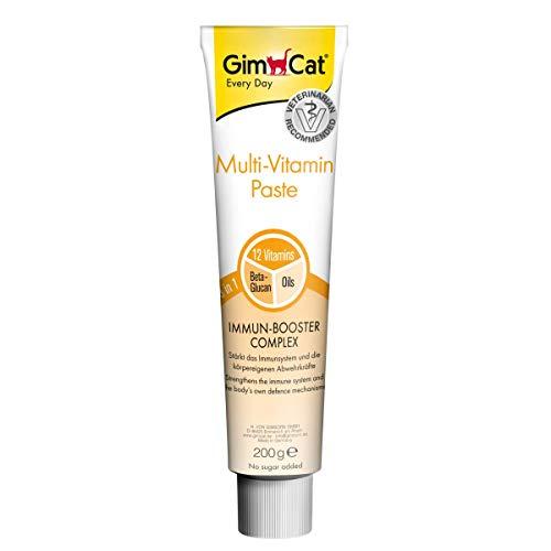 GimCat pasta multivitaminas , Aperitivo para gatos nutritivo con vitaminas, elementos reconstituyentes y fibra de origen vegetal , 1 paquete (1 x 200 g)