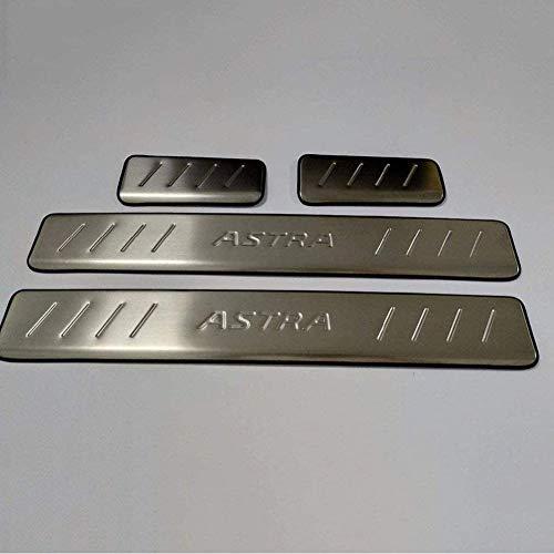 SIAKYED Coche Tiras De Umbral para OP-el Astra 2010 2011 2012 2013 2014 2015 2016 2017 2018 2019, Coche Acero Inoxidable DecoracióN Auto Estilo AntiarañAzos Accesorios, 4pieza