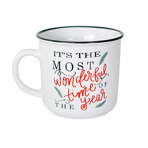 Sweet Water Decor Christmas Coffee Mug | Rustic 15oz Ceramic Campfire Style Coffee Cup Microwave & Dishwasher Safe | Festive Seasonal Holiday Mug for Women (It's the Most Wonderful Time of the Year)