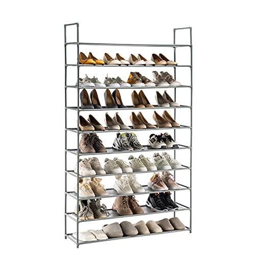 YOUDENOVA 10 Tiers Shoe Rack, 50 Pairs Shoe Rack Organizer, Non-Woven Fabric Shoe Shelf, Shoe Tower Storage Cabinet (Grey)