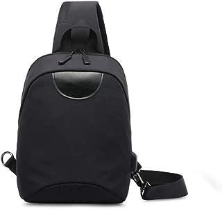 Men's Simple Shoulder Bag, Black Waterproof Nylon Chest Bag, USB Charging Interface Messenger Bag