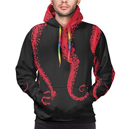 Men's Hoodie Red Octopus Tentacles Prints Sweate Sweatshirt Men's Casual Hoodie Casual Top Hooded,M