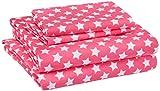 AmazonBasics Kid's Sheet Set - Soft, Easy-Wash Microfiber - Full, Pink Stars
