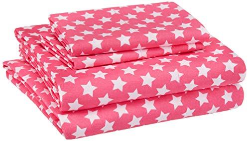AmazonBasics Kid's Sheet Set - Soft, Easy-Wash Lightweight Microfiber - Full, Pink Stars