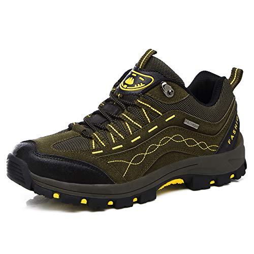 DimaiGlobal Zapatillas de Trekking para Hombres Zapatillas de Senderismo Botas de Montaña Impermeable Antideslizantes AL Aire Libre Deportes Escalada Verde 41EU