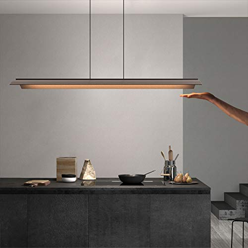 Mainen LED Induktion Pendelleuchte esstisch Aluminium Hängelampe wohnzimmer,Moderne Esstischlampe Hängeleuchte für Esszimmer Küche Wohnzimmer Bar Restaurant,3000K,CRI ist größer als 83(Dark Kaffee)