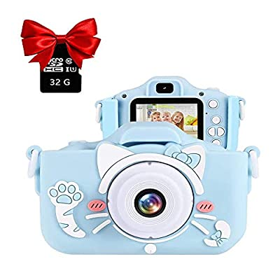 EKUPUZ Camera for Kids, Kids Digital Camera Toys,Dual Lens Kids Camera 2.0 Inch IPS Color Screen HD with MP3 Player 32GB SD Card and Camera case,for 3-9 Year Old Kids Best Birthday Gifts from EKUPUZ