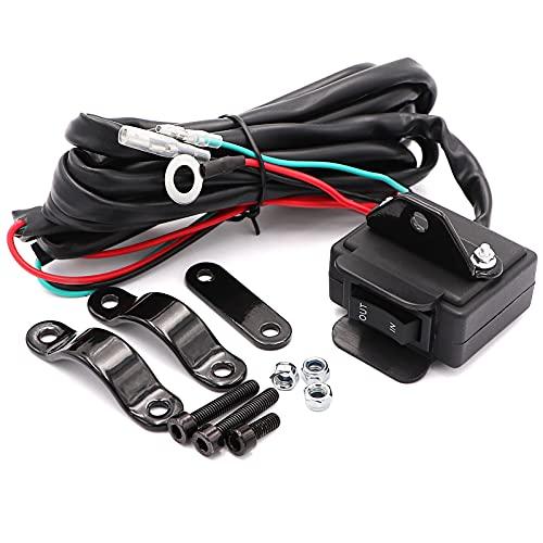 12V Winch Rocker Thumb Switch for ATV UTV, with Mounting Bracket Handlebar Control line kit