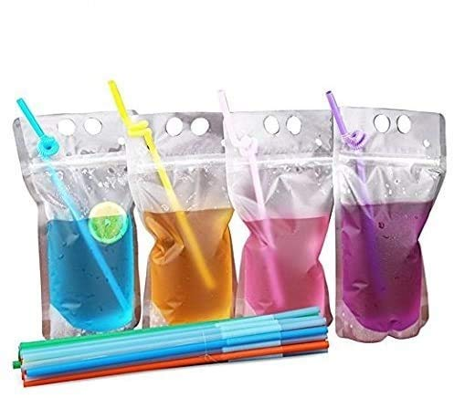 Drink Bags Stand up Reclosable Zipper Drinking Pouches Bags Hand-held Drinking Bags with Plastic Straw,(50 Pack)