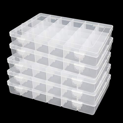5 Pack Plastic Jewelry Organizer Box 18 Big Girds Clear Storage Organizer Case...