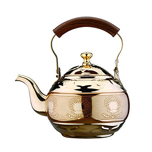 QinWenYan Hervidor Silbido 2L de Acero Inoxidable silbido té tetal Tetera Botella de Agua para Casa (Color : Gold, Size : One Size)