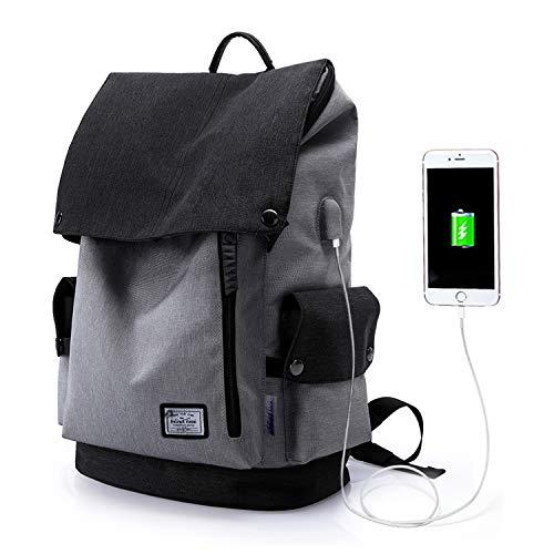 WindTook USB Anschluss Laptop Rucksack Damen Herren Daypack Schulrucksack für 15,6 Zoll Notebook, Wasserabweisend, Grau