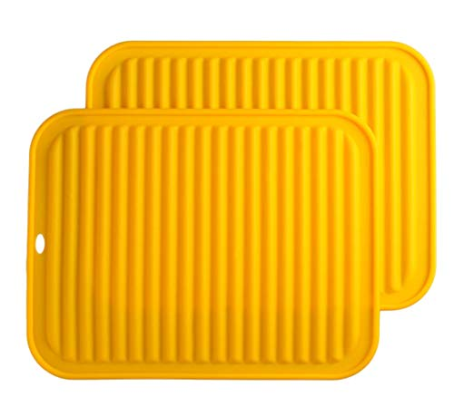 Silicone Trivets Mat Set Smithcraft 9'X12' Big Place Mat, Hot Pads, Kitchen Table Mat - Waterproof, (Set of 2) Non Slip, Flexible, Durable, Dishwasher Safe Color: Yellow