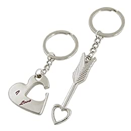 arrow and heart couples keychain