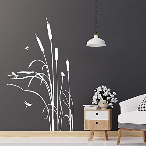 KLEBEHELD® Wandtattoo Schilf im Wind | Gräser | Gras Deko für Wohnzimmer, Flur, Eingang und Wohnbereich Farbe schwarz, Größe 58x100cm