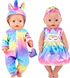 iBayda Total 2 Set Rainbow Colorful Unicorn Doll Clothes Rompers Dress and Headband for 43cm New Born Baby Dolls and 18 inch Dolls Like American Girl Doll