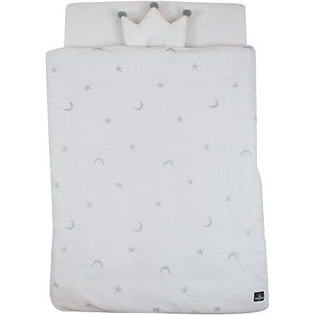 PUPPAPUPO 洗える ベビー布団5点セット レギュラーサイズ 【スター×ムーン 】 パイル 綿100% 新生児用 グレー