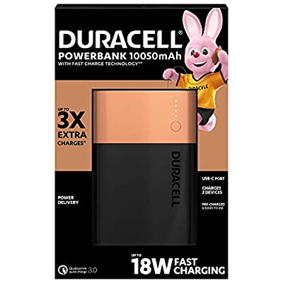 Duracell Power Bank 10050 mAh, Portable Charger with USB C + Fast Charging IN / OUT (18W Power Delivery and Quick Charge 3.0) for iPhone, Samsung and any USB-Powered Devices