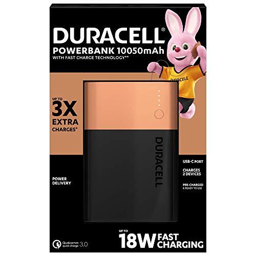 Duracell Power Bank - 10050 mAh, Caricatore Portatile con USB C e Ricarica Rapida IN/OUT (Power Delivery 18 W e Quick Charge 3.0), per iPhone, Samsung, Huawei e Dispositivi Alimentati via USB