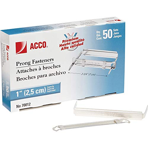 Acco Prong Fasteners, Premium, Fastener Sets for Standard 2-Hole Punch, 1-Inch Capacity, 1 Pack of 50 (A7070012H)