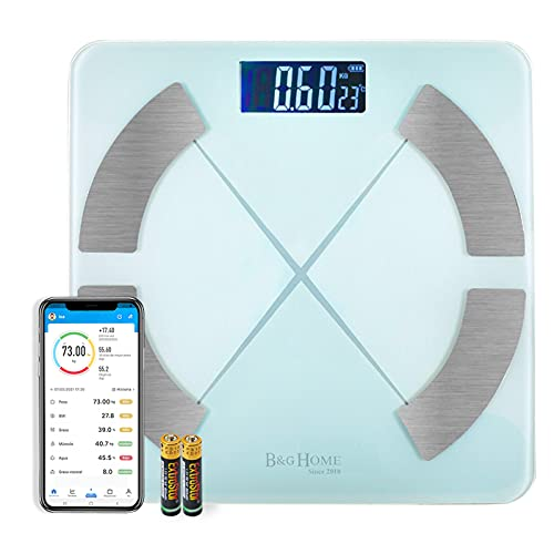 MERCURY TEXTIL - Bascula grasa corporal,bascula de baño. Analiza 8 Funciones, Monitores de Composición Corporal con App para Peso Corporal, Grasa, Agua, IMC, BMR, Masa Muscular (MOD A CLARO)