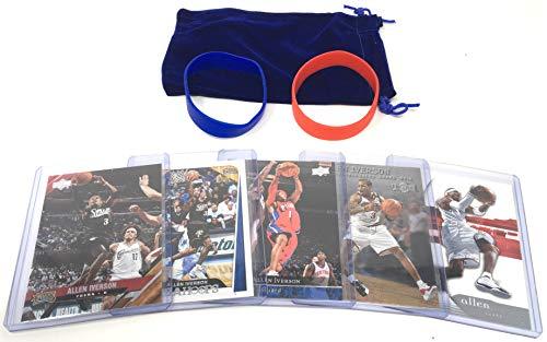 Allen Iverson Basketball Cards Assorted (5) Bundle - Philadelphia 76ers Trading Card Gift Pack