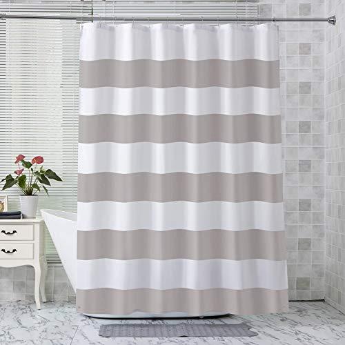 AmazerBath Fabric Shower Curtain Liner, Water-Proof Polyester Fabric Shower Curtain Liner with 2 Magnets, Decorative Grey Stripe Shower Curtains for Bathroom, 70 X 72 Inches