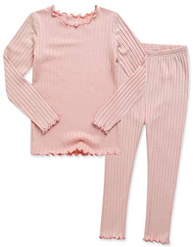 VAENAIT BABY Kids Girls Long Sleeve Modal Sleepwear Pajamas 2pcs Set Shirring Peach L