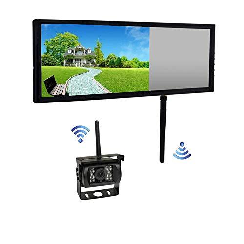 JX-SHOPPU ワイヤレス 7インチ ルームミラー型液晶モニター & 18LED バックカメラ セット 12V-24V車対応 無線 夜間暗視 LED 車載 カー用品 日本語対応 Wireless Car Backup Camera and Monito