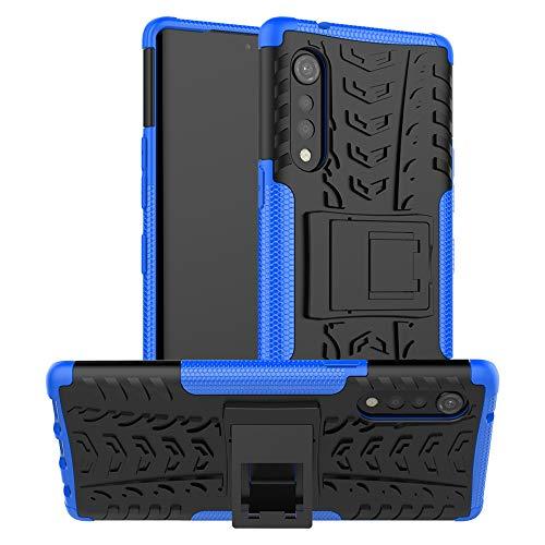 LiuShan Compatible con LG G9 ThinQ Funda,Heavy Duty Silicona Híbrida Rugged Armor Soporte Cáscara de Cubierta Protectora de Doble Capa Caso para LG G9 ThinQ/Velvet Smartphone,Azul