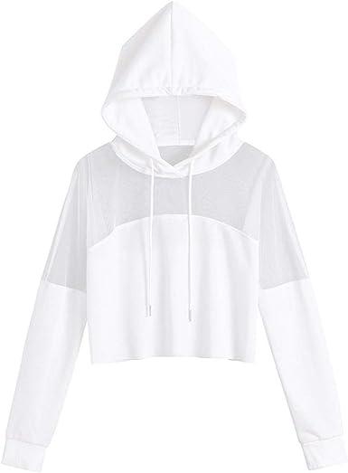Sudaderas Mujer Cortas Tumblr,Otoño Transparente Camiseta de Manga Larga Blusa Tops Pullovers
