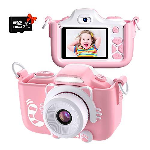 Kriogor Cámara de Fotos para Niños, Juguete Digital Cámara Zoom 2 Pulgadas 1080P HD Niño Niña Cumpleaños (Tarjeta Micro SD Incluida)