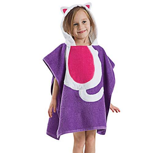LGQ Toalla de Poncho con Capucha para niños Toalla de baño de algodón con patrón de Animales - Albornoz de diseño de Dibujos Animados súper Absorbente y súper Suave,Púrpura