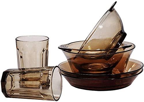 Juego de Platos, Juego de vajillas de Cristal para 2, 5 Piezas de Platos, Platos, Platos y Tazas, microondas y refrigerador Seguro, Gris Claro, Euro Ceramica