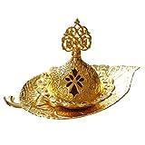 Lurrose Quemador de Incienso de Estilo Árabe de Oriente Medio (Dorado)