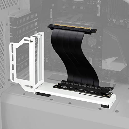 EZDIY-FAB Halterung für vertikale Grafikkarte, GPU-Halterung, VGA-Halterung für Grafikkarte mit Riser-Kabel PCIE 3.0 20 cm (7,8 Zoll) – Weiß